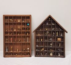 Two wooden letter boxes with copper and iron miniatures