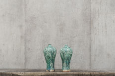 Two green glazed vases – China – end 20th century