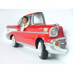 1957 Chevrolet Bel Air - fiberglass wall decoration with Elvis Presley figure - 317 x 131 x 63 cm