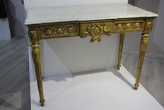 Gilded console with marble top, Louis XVI style - Liguria, Italy - 18th century
