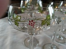 Set of 7 Bohemian Art Nouveau enamelled grape vine hock glasses
