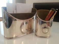 Pampaloni set of pen holder- and mail-caddie in solid silver - 800/1000