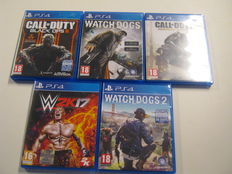 Lot of 5 PlayStation4 games - Watch Dogs 1 & 2, W2K 17, Black Ops 3, etc