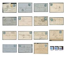 France 1871 - Set of 15 letters with Ceres 25c blue Type II, Yvert n ° 60B