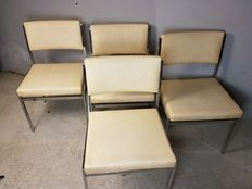 Designer unknown - set of 4 vintage chrome dining chairs with white faux leather upholstery