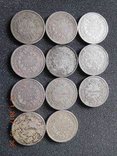 France - 5 francs 1873 up to 1876 (11 pieces) - silver.