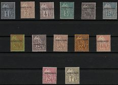 """Antique Guadeloupe 1891 – Full set """"1881 stamps"""" surcharged"""