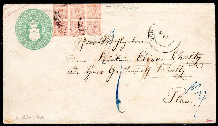 "Old Germany - 1856 - Mecklenburg-Schwerin ""Bull head on dot backgroun"" Michel 1 with plate flaw III on postal stationary letter, verified Engel BPP."