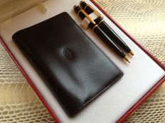 Set of Diabolo Ballpoint Pen and Mechanical Pencil from Cartier with Leather Cardholder