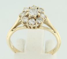 18k yellow gold entourage ring set with 9 brilliant cut diamonds ** no reserve price **