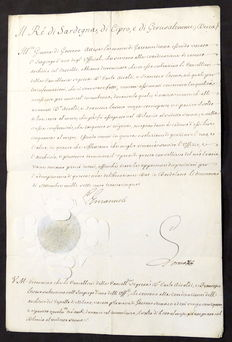 Royal Decree with signature of the King of Sardinia Charles Emmanuel III of Savoy - 1735