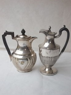 Lot of two ancient and beautiful silver plated English jugs epoch: ca 1900