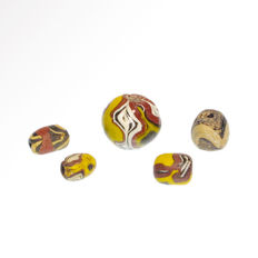Five Roman Mosaic Millefiori Glass Beads, Largest=1.9 cm D - others=1.1 cm L each