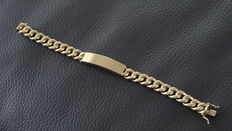 Gold, men's plate bracelet with extra, double safety clasp.