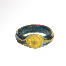 Egyptian Mosaic Glass Ring, Roman Period, 2.7 cm D