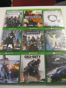 Lot of 9 XBOX One games- Battle field Hardline, Assassin's Creed Unity, The elder scrolls, Destiny, Forza 6, Dragon Age,etc