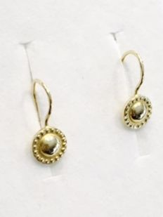 14 carat gold pendant earrings  - highly polished sun