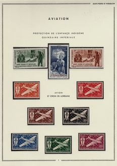 Ex-Colonies of France, Saint Pierre and Miquelon 1909/1957 – Collection pre-DOM period in airmail (complete), Taxes (France Libre FNFL), postal parcels and souvenir sheet