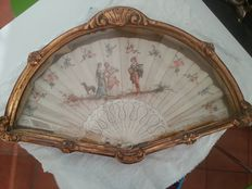 Bone and cloth hand fan - France, late 19th century - painted and signed - anonymous