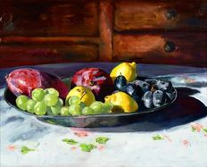 Unknown painter (20th/21st century) - pewter plate with fruit