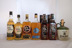 7 bottles Long John - 12 years old, Special Reserve Blended, jugs.