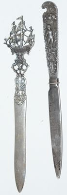 Two silver letter openers, Netherlands