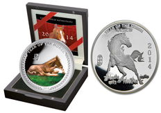 Palau + United States - 2 silver coins 1 x $2 Palau 2014 + 1 oz United States Lunar Year of the Horse - polished plate with box and certificate - exclusive colour edition