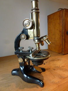 Antique large microscope with original case-early 1900-signed