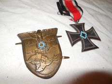 Two decorations WWII- Iron Cross 2nd class with ribbon and Crimea Shield