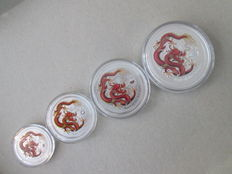 "Australia - 50 Cents + 1, 2 and 5 Dollars 2012 'Year of the Dragon ""(4 different kinds) colour - silver"
