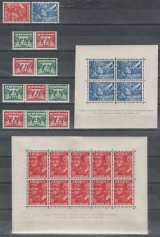the Netherlands 1941/1942 - Flying pidgeon and legion - NVPH 379 a/d, 402/403, 402B/403B
