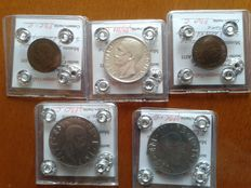 Kingdom of Italy – Lot of 5 coins, Vittorio Emanuele III (incl. 10 Lira, 1927, in silver)