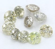 10 Round Brilliant Mixed Color Diamonds – 1.04 ct.