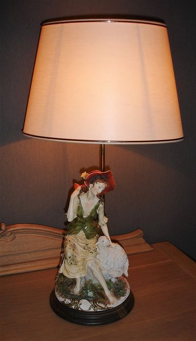 Capodimonte Porcelain Table Lamp : Capodimonte table lamp porcelain sculpture quot rural scene