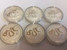 Australia - 6 x 0.5 AUD Lunar II Year of the Snake - 6 piece 999 silver coins