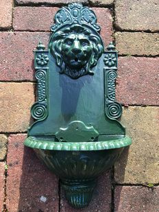 Cast iron wall fountain lion's head antique green large model