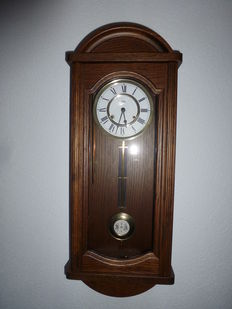 Box regulator clock – oak – JEKA – from the 80s