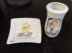 Made by Porcellane Tognana for MMI - Vase and tray with Picasso design