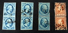 The Netherlands, 1852-1867, king William III of the Netherlands, NVPH 1 (two items), 4 and 9, in vertical pairs
