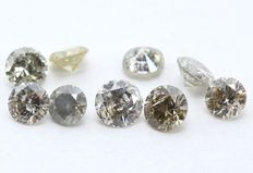 9 Round Brilliant Mixed Color Diamonds – 0.75 ct.