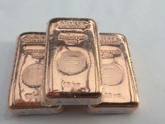 3 x 10 oz - 999 fine copper - copper bar - Güldengossa Castle