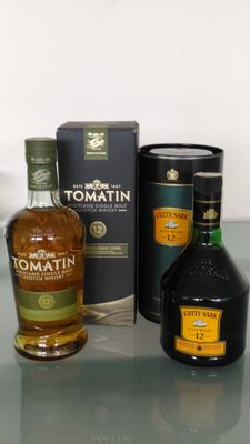 2 bottles - Tomatin 12 years old (new version) + Cutty Sark 12 years old