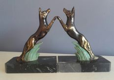 Art Deco - bookends - Dogs on marble base