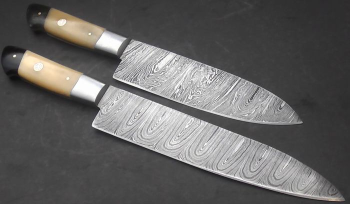 set of two handcrafted chef s knives 1 long and elegant chef 39 s knife and one medium chef s. Black Bedroom Furniture Sets. Home Design Ideas