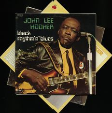 "John Lee Hooker lot of three black rhythm 'n' blues albums including this rare Dutch 2 LP ""Alone"" and ""Boogie n' Heat"" with John Lee Hooker"