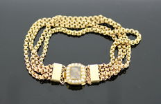 Victorian 15K Yellow Gold Mourning Bracelet, With Seed Pearls and Hair, Made in 1860.