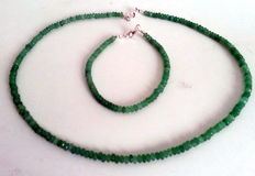 Emerald necklace and bracelet