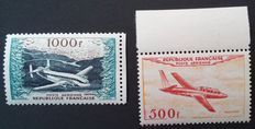 France 1964 - Airmail, Prototypes 500 f. and 1000 f. Signed Calves and Scheller - Yvert no. 32 and 33.