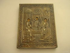 Russian silver icon, the Holy Trinity - 19th century