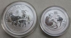 Australia - 50 cents 2016 'Year of the Monkey' & 1 dollar 2015 'Year of the Goat' - ½oz & 1oz silver